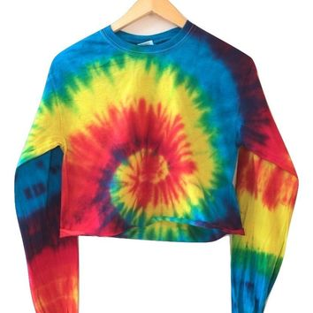 Classic Rainbow Tie-Dye Cropped Long Sleeve Tee