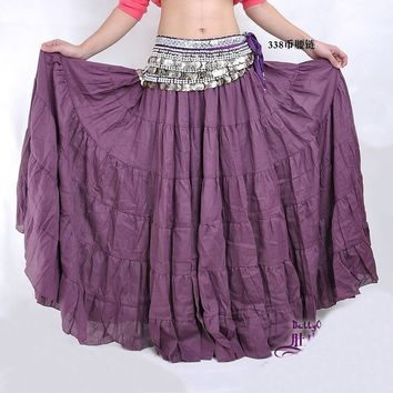 Hot New Belly Dance Dancing Costume Tribal Gypsy 7 Tiered Circle Linen Skirt Dcu