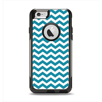 The Subtle Blue & White Chevron Pattern V2 Apple iPhone 6 Otterbox Commuter Case Skin Set