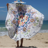Hawaii White Printed Round Beach Towel