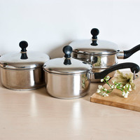 Vintage Farberware Saucepans and Double Boiler Insert, Mid Century Cookware Stainless Steel Aluminum Clad Bronx NY