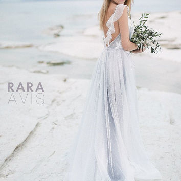 Wedding dress Delon, simple wedding dress, bridal gowns, elegant dress, blue, purple, ivory, powder, nude