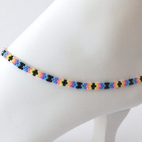 Beaded Ankle Bracelet - Native American Inspired Seed Bead Anklet - Tribal Design Beaded Anklets - Ankle Jewelry - Foot Jewelry - Beach