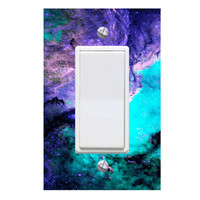 Deep Space Galaxy Light Switch Cover with Decal Astronaut Room Decor LS21