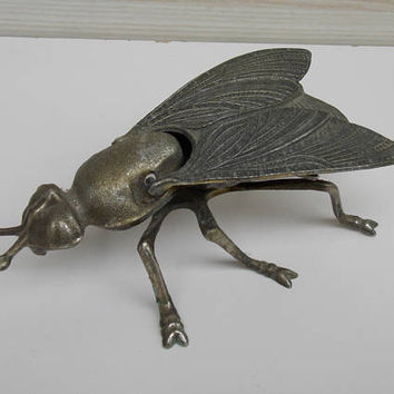 Ashtray Brass flies bug, Vintage, 1950s, mid century modern,made in spain home, decor, art decor style, smoke accessory, bug ashtray