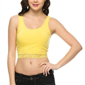 Cute Solid Plain Scoop Neck Cropped Lace Trim Deep Back Camisole Slim Tank Top