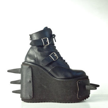 90's Cyber Goth Rubber Spike Leather Mega Platform Wedge Heels by Magic London