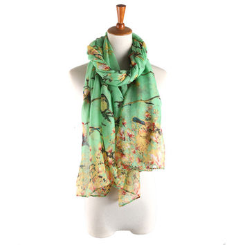 Fashion Women Chiffon Floral Printed Designer Scarf Autumn Gradient Brid Flower Casual Silk Scarves Long Wrap Pashmina