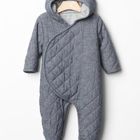 Gap Baby Quilted Chambray Bear One Piece