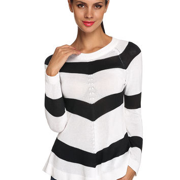 White And Black Stripes Long Sleeve Pullover Sweater