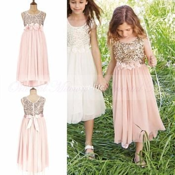2017 Blush Flower Girls Dresses Gold Sequins Handmade Flower Sash Tea Length Tulle Kids Formal Dress Junior Bridesmaid Dress