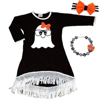 Ghost Dress Black White Fringe Glasses Bow