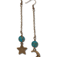 Moon and Star Earrings: Soul Flower Clothing