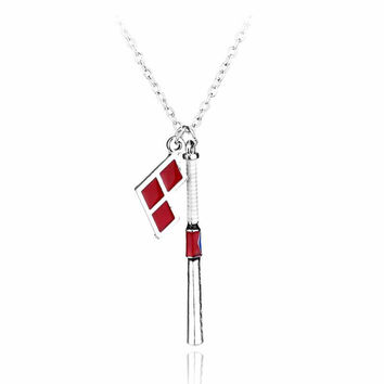 Suicide Squad Harley Quinn Baseball Bat Pendant Necklace for Women