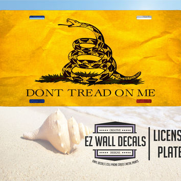 Don't Tread On Me Distressed Aluminum Vanity License Plate