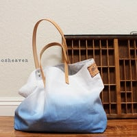 CANVAS TOTE BAG...Blue (with leather strap)