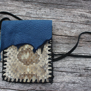 Blue Leather Medicine Bag with Diamondback Rattlesnake Skin, Shaman Talisman Necklace Pouch