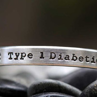 Hand Stamped Bracelet - Personalized Custom Narrow Aluminum Cuff - Made to Order - MEDICAL ALERT