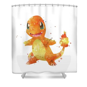 Pokemon Charmander Shower Curtain