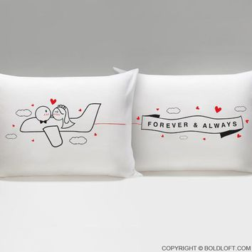 Forever & Always™ Bride & Groom Pillow cases, His and Hers Wedding Gifts for Bride and Groom, Newlywed Couple, Him, Her, Husband, Wife, Engagement, Bridal Shower