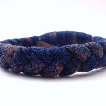 Navy Woven Bracelet Recycled T Shirt Bracelet Bleached Summer Jewelry Accessories