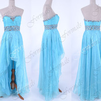Strapless Sweetheart with Crystal High Low Blue Organza Prom Dresses, Blue Wedding party Dresses, Formal Gown