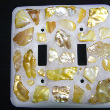 Shell Switch Plate, Mosaic,Switch Plate,Light Switch Cover,Gold Abalone Shell, Beach Decor