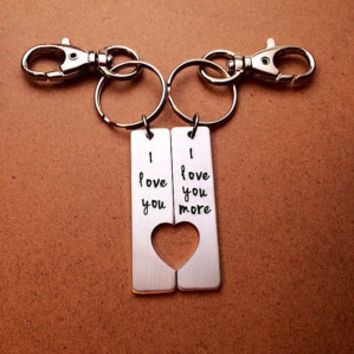 I love you, I love you more - Aluminum Key Chain Set - Couples Hand Stamped Key Chain, Heart cutout Couples key chain, Anniversary Gift