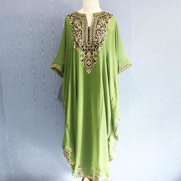 Light Green Maternity Dress Caftan Maxi Dress Plus Size Caftan Dress for beach cover ups, Resortwear, Loungewear, Maxi Dresses, Gift Dress