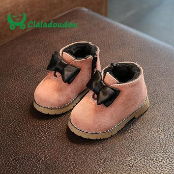 Claladoudou 11.8-13.8CM Winter Fashion Child Girls Snow Boots Shoes Warm Plush Soft Bottom Baby Girls Genuine Leather Dress Shoe
