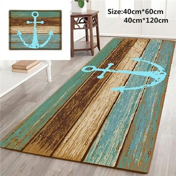 Vintage Retro Nautical Anchor Floor Mat Non-slip Rugs Carpets Entrance Doormat Bathroom Kitchen Floor Mat