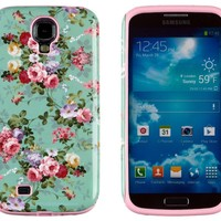 DandyCase 2in1 Hybrid High Impact Hard Vintage Sea Green Floral Pattern + Pink Silicone Case Cover For Samsung Galaxy S4 i9500 + DandyCase Screen Cleaner