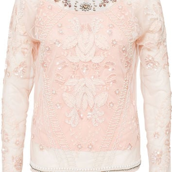 LS EMBELLISHED TOP by RIVER ISLAND - Long sleeve pink embroidery mesh top