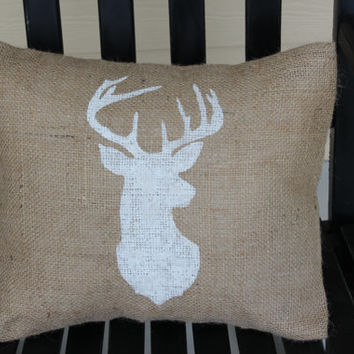 "Burlap Pillow Cover  Deer Bust. 12"" X 12"" Insert Included"
