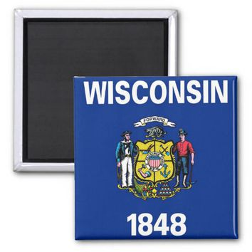 Magnet with Flag of Wisconsin State - USA