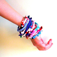 Upcycled Fiber Bracelet Stack Multicolor Pink Purple Red Blue Eco Friendly Colorful Knotty Bits Boho Cuff Gifts Under 25