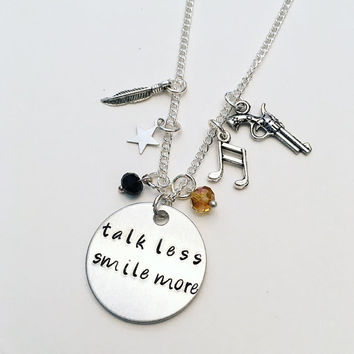 Talk Less Smile More Aaron Burr Alexander Hamilton the Musical Inspired Lyrics Hand Stamped Charm Necklace