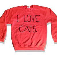 I Love Cats Sweatshirt Paprika Kitten Kitty Catz Cat Sweater Jumper Top Clothing 023 Paprika