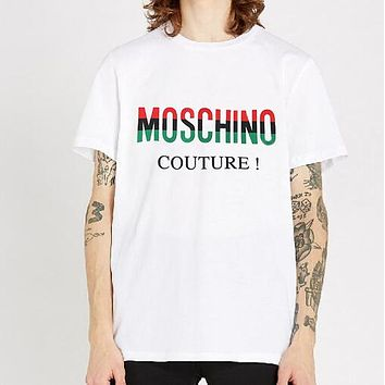 MOSCHINO New Popular Women Men Casual Print T-Shirt Top Tee White