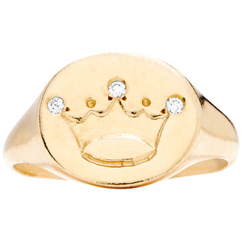 Crown Signet Ring With 3 Diamonds