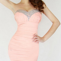 Pink Strapless Ruched Mini Dress