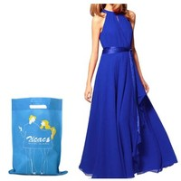 Zicac Hot Sale ! Womens Long Sleeveless Chiffon Dress Retro Off Shoulder Gown Cocktail Evening Party Prom Formal Dress With Belt (Blue) - save winkie Shop