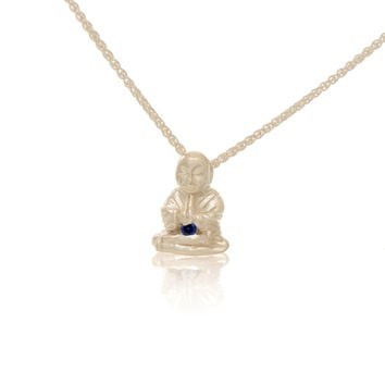 Sterling Silver Sapphire Peaceful Buddha Pendant Necklace Love Light Compassion Foundation Buddha Buddies