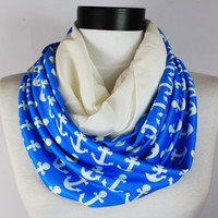 Blue Anchor infinity scarf,Loop scarf. Circle scarf. Women Scarf. Gift. ,Scarves, scarf, infinity scarf,Anchor scarf
