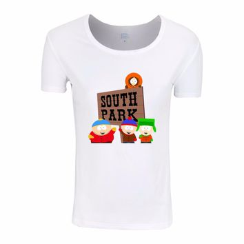 Asian Size,Women South Park Cartoon Who Is The Cool Tee Shirts Female Cartoon Funny Tops Tee Women Brand Clothing,HWP707