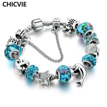 CHICVIE European Silver Color Blue Crystal Glass Charm Bead Bracelet For Women With Star Anchor Dolphin Beads Gifts SBR160146