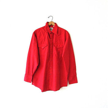 Mns Vintage 1980s ELY CATTLEMAN Red WESTERN Work Pearl Snap Button Shirt Sz 16H 34