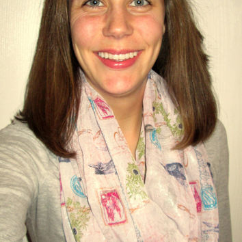 Great for Valentine's Day! Pink Print, including the Eiffel Tower, Birds and Stamps. Homemade, Infinity Scarf.