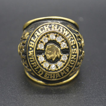 Fashion Gold Stanley Cup 1961 Chicago BlackHawks Championship Ring Replica Size 11 Man's W