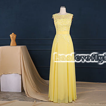 elegant yellow long bridesmaid dresses,long prom dresses,chiffon bridesmaid dress,formal dress,evening dresses,mother of the bride dress